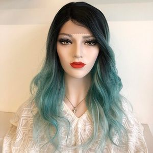 "20"" Black Roots Teal OmbreLace Front Wig 